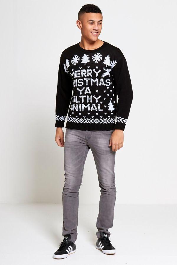 Black Merry Christmas Filthy Animal Christmas Jumper