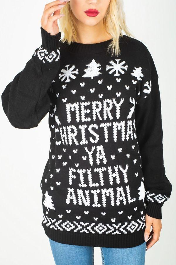 Black Merry Christmas Ya Filthy Animal Jumper