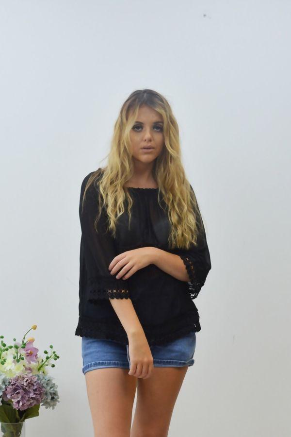 Black Mesh Crochet Hem Bardot Top
