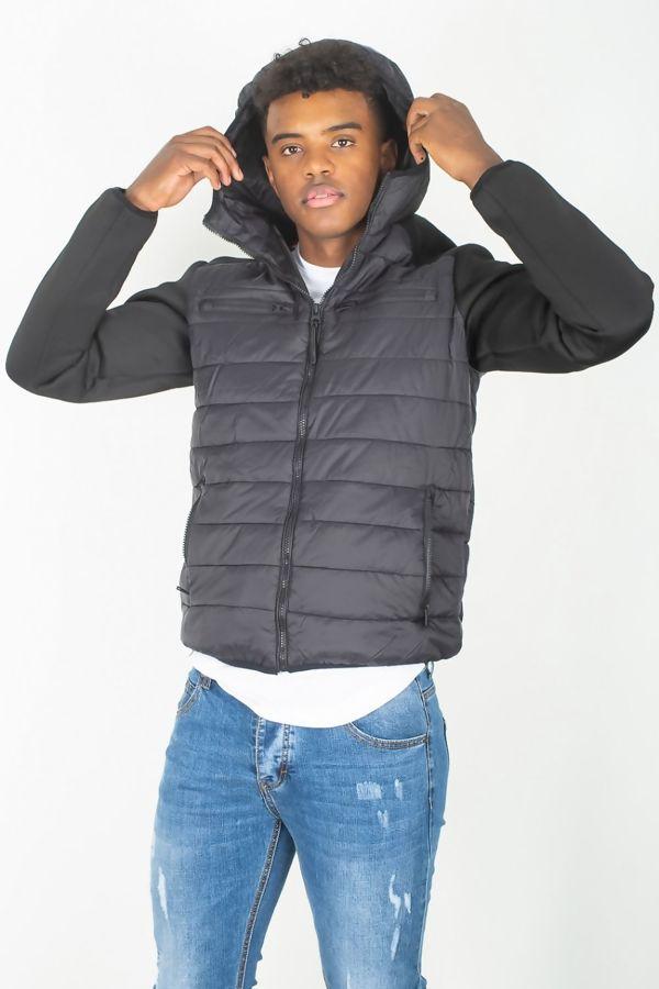 Black Mesh Trim Contrast Sleeve Jacket