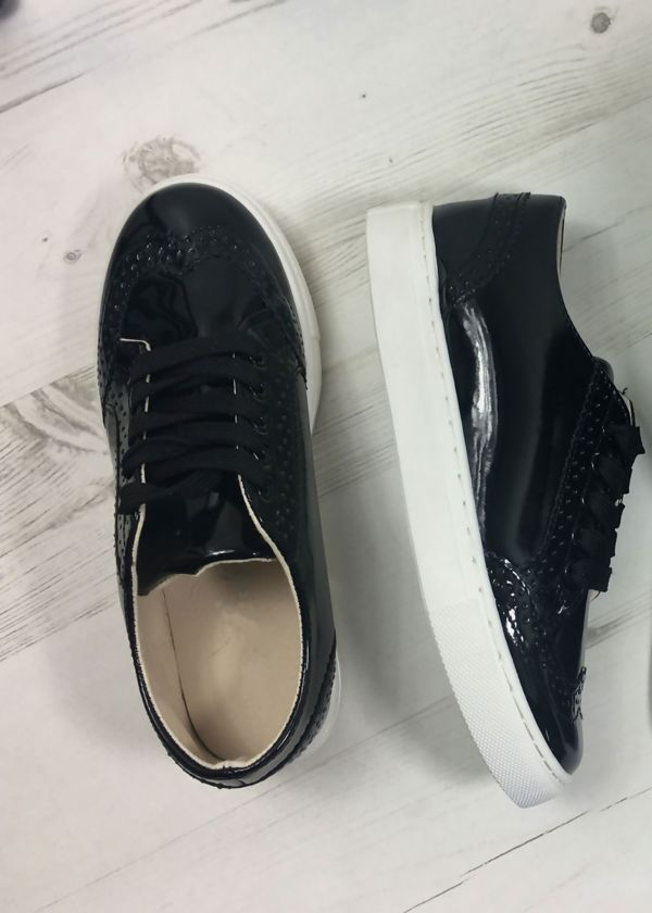 Black Metallic Lace Up Trainers