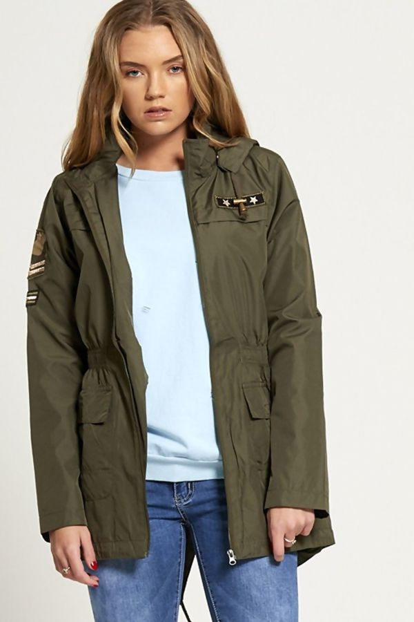 Black Military Patch Light Weight Jacket