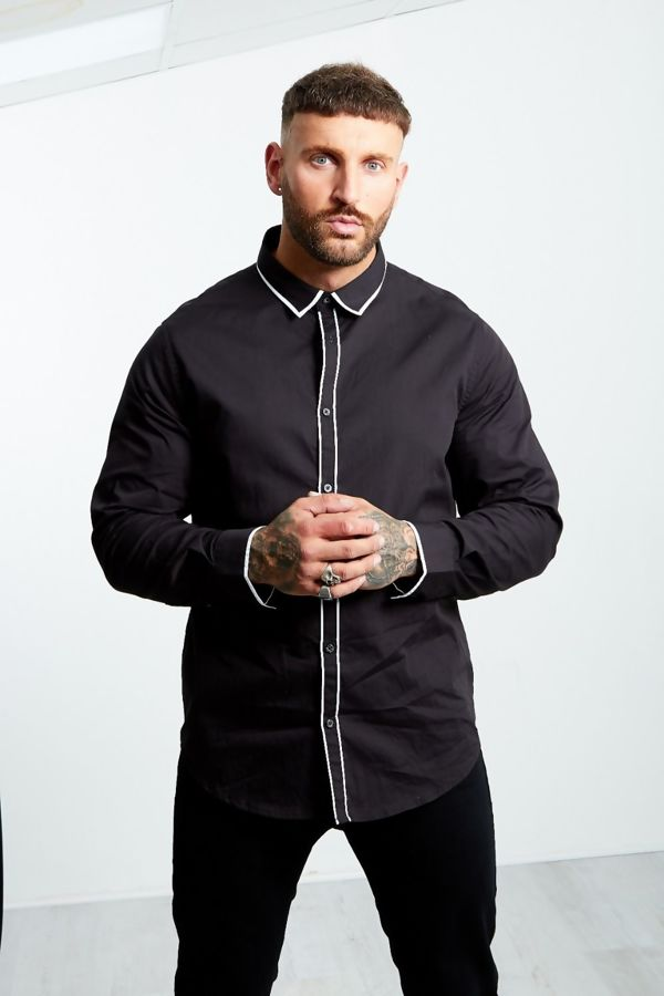Black Monochrome Collar Long Sleeve Shirt