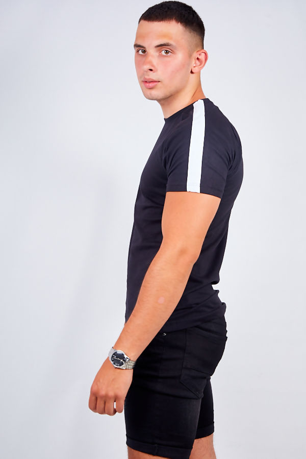 Black Monochrome Stripe Crew Neck T-Shirt
