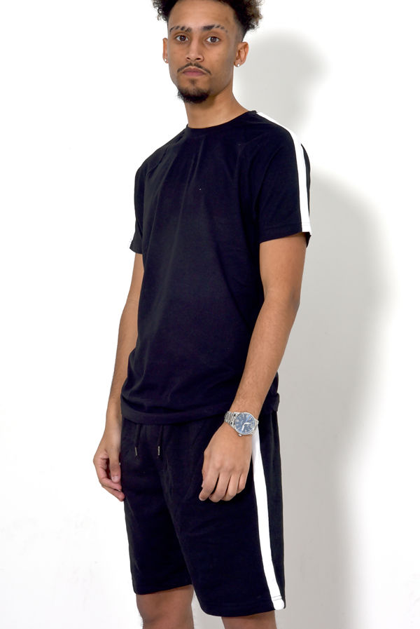 Black Monochrome Stripe Short Set