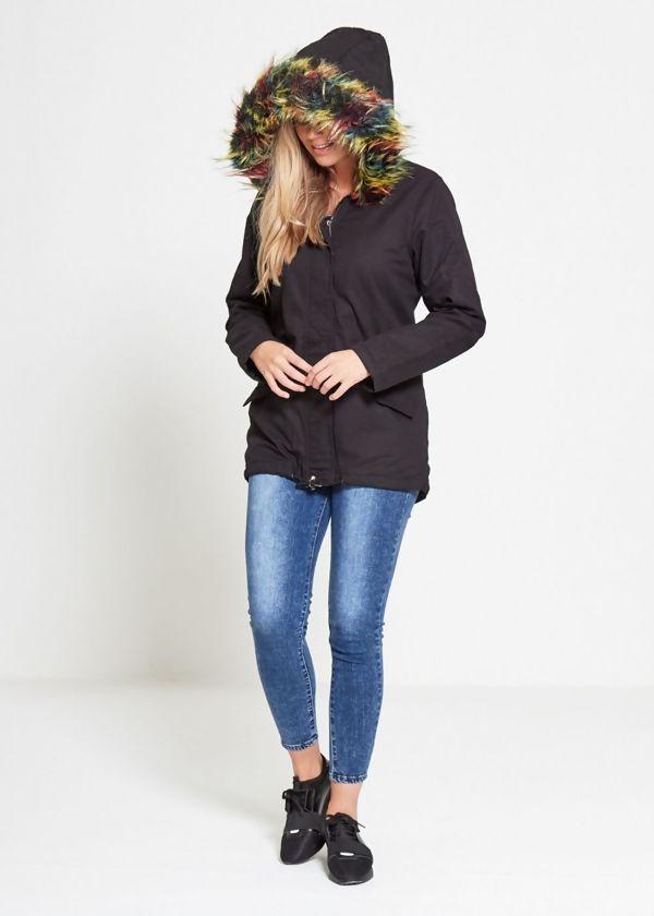 Black Multi Fur Hood Parka Jacket