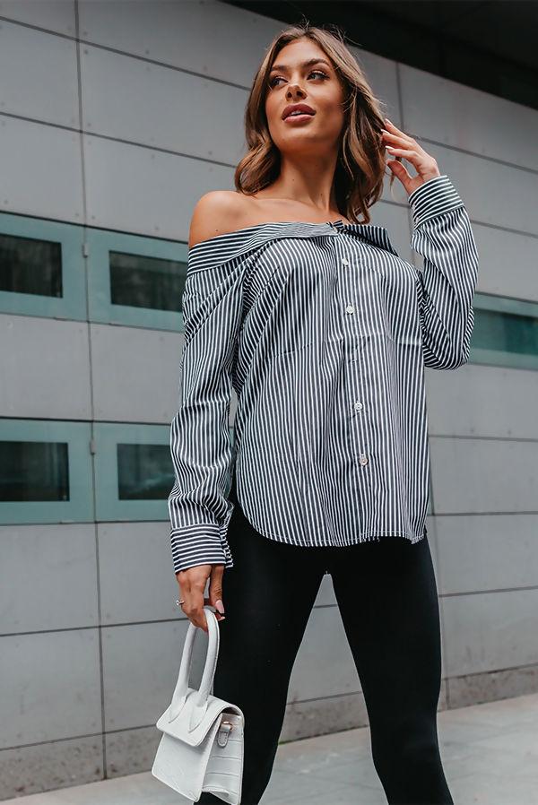 White Off Shoulder Striped Shirt