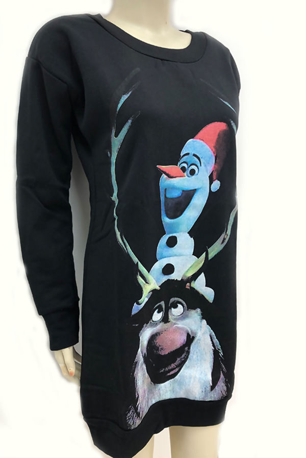 Black Olaf The Snowman Print Christmas Sweat Dress