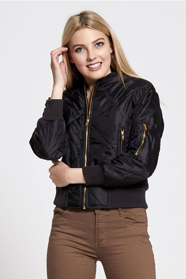 Black Olivia Quilted Bomber Jacket