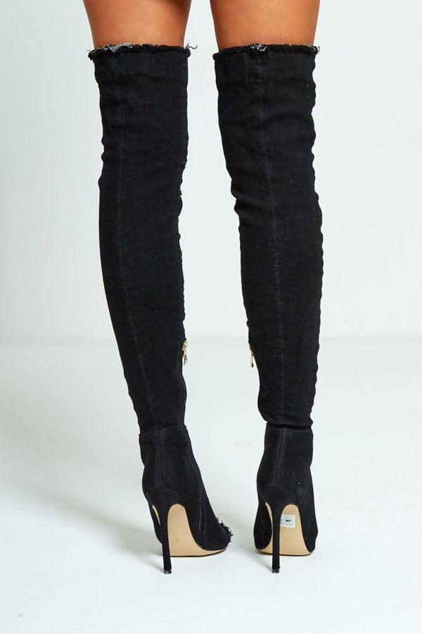 Black Over Knee Ripped Denim Heels