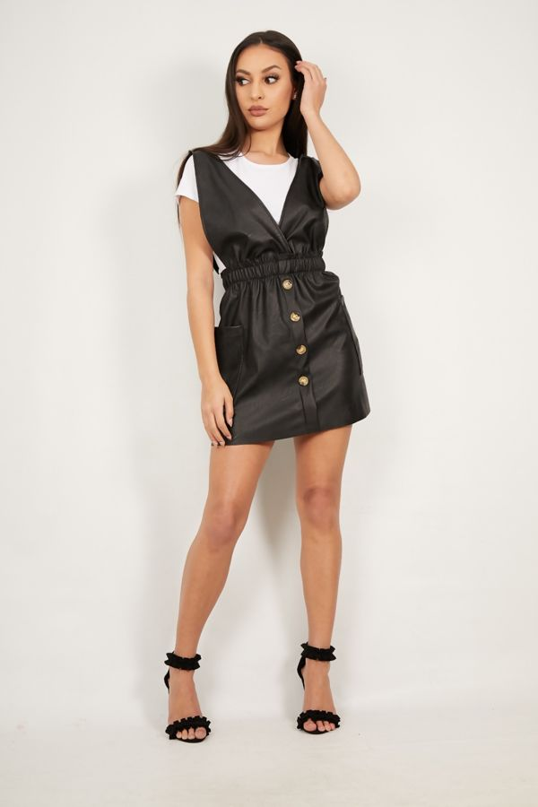 Black Over the Top Pu Pinafore Dress