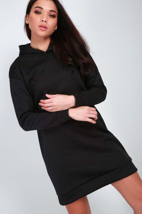 Black Oversized Baggy Pocket Sweat Hood Dress