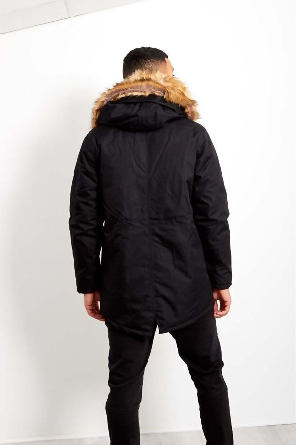 Black Oversized Faux Fur Hood Parka Coat