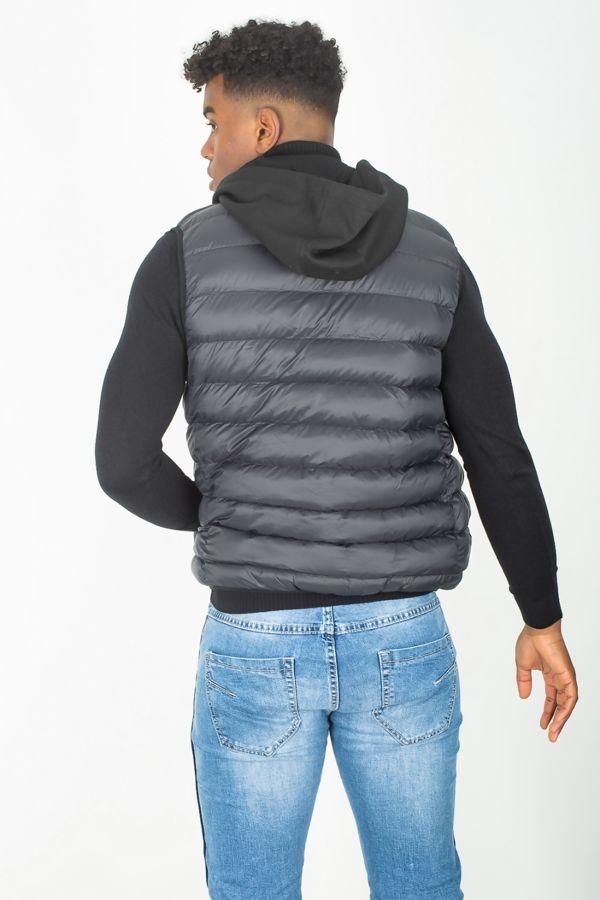 Black Padded Puffer Hood Gilet