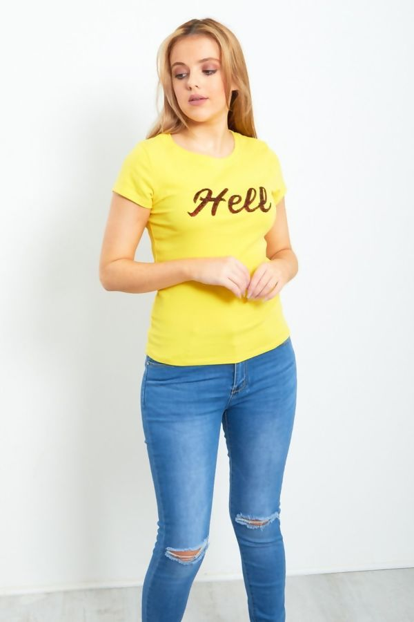 Black Paillette Hell Slogan T-Shirt