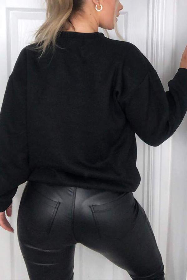 Black Paris Printed Sweatshirt