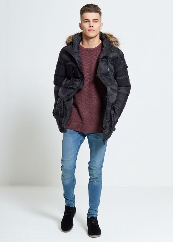 Black Parka Jacket With Faux Fur Hood