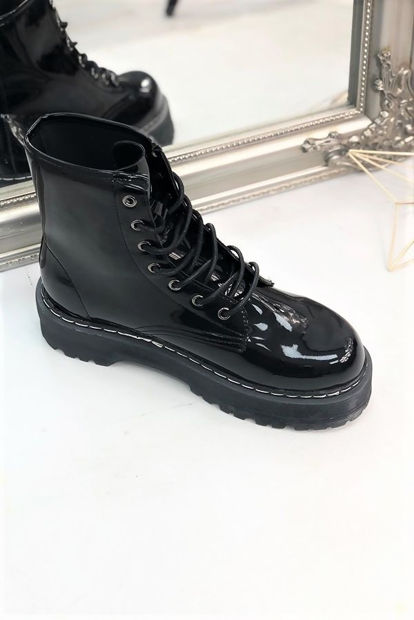Black Patent Barrel Boots