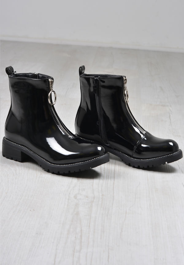 Black Patent Zip Front Ring Pull Boots