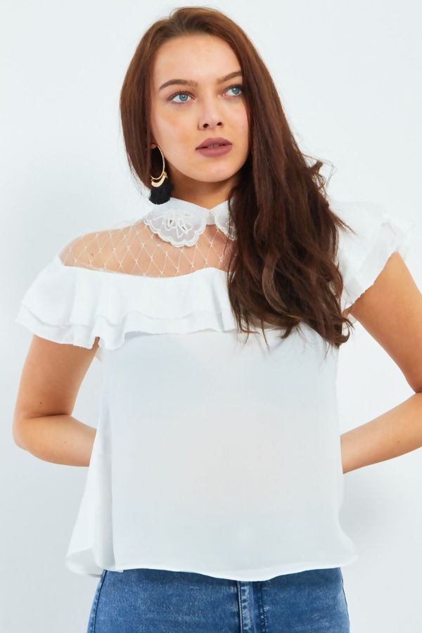 Black Pearl Embroidery Collar Frill Blouse