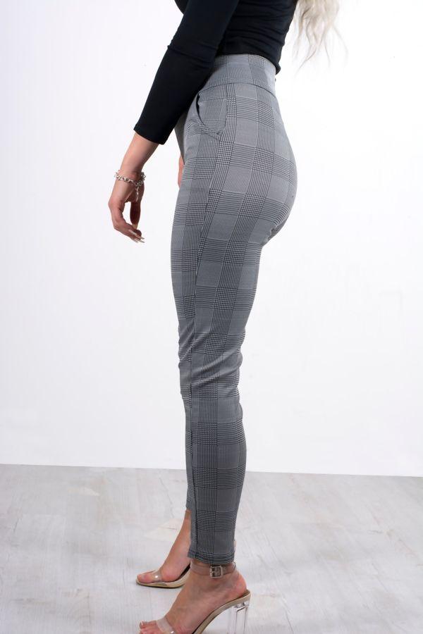 Black Plaid Tailored Cigarette Trousers