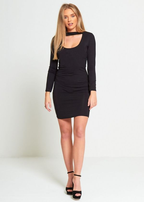 Black Plain Choker Neck Mini Dress
