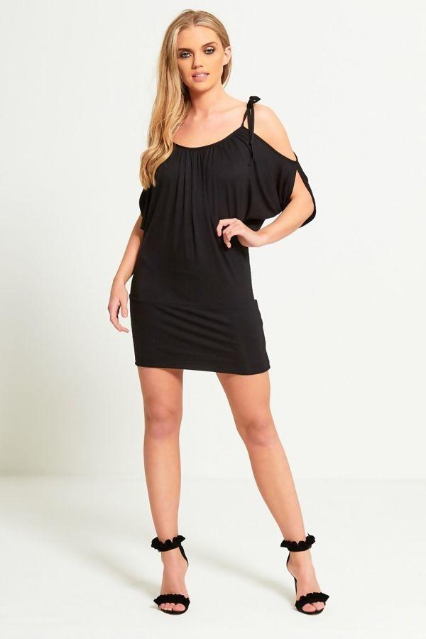 Black Plain Cold Shoulder Knot Mini Dress