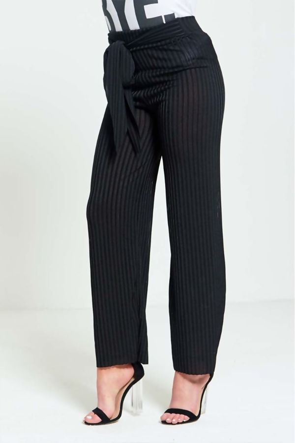 Black Pleated Wide Leg Trouser