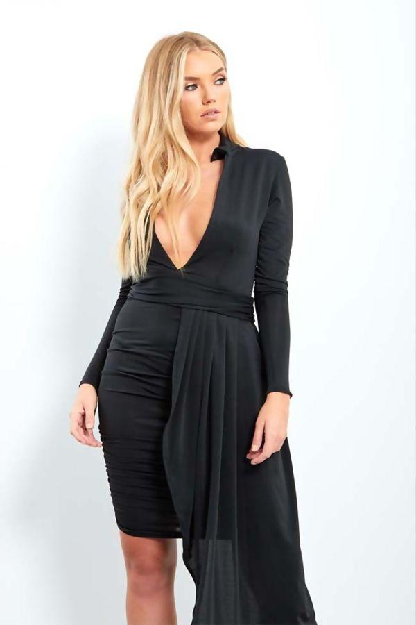 Black Plunge Neck Ruched Drape Midi Dress