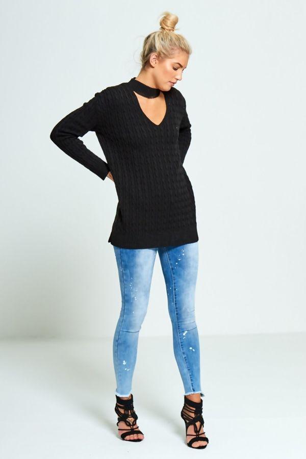 Black Plus Size Choker Neck Knitted Jumper