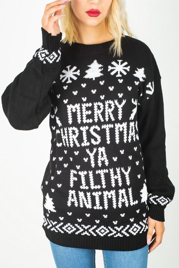 Black Plus Size Merry Christmas Ya Filthy Animal Jumper