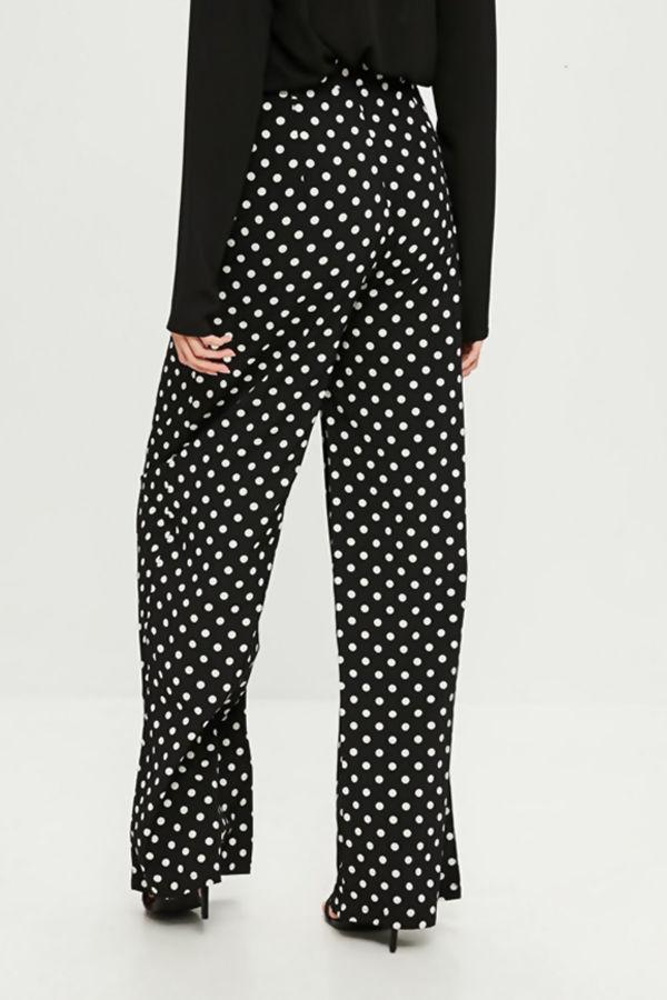 Black Polka Dot Wide Leg Trouser