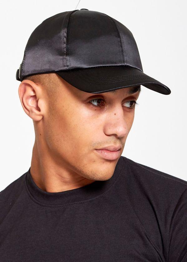 Black Poly Satin Baseball Cap