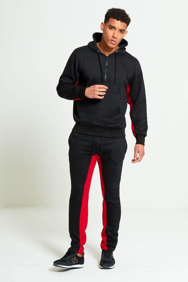 Black Polyester Stripe Skinny Slim Fit Tracksuit