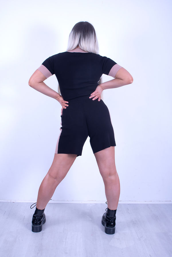 Black Premium O-Ring Zip Front Color Block Soft Knit Co-ord