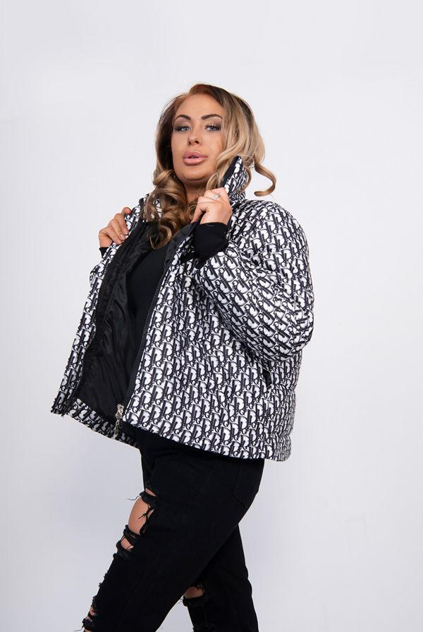 Black Printed Puffer Jacket