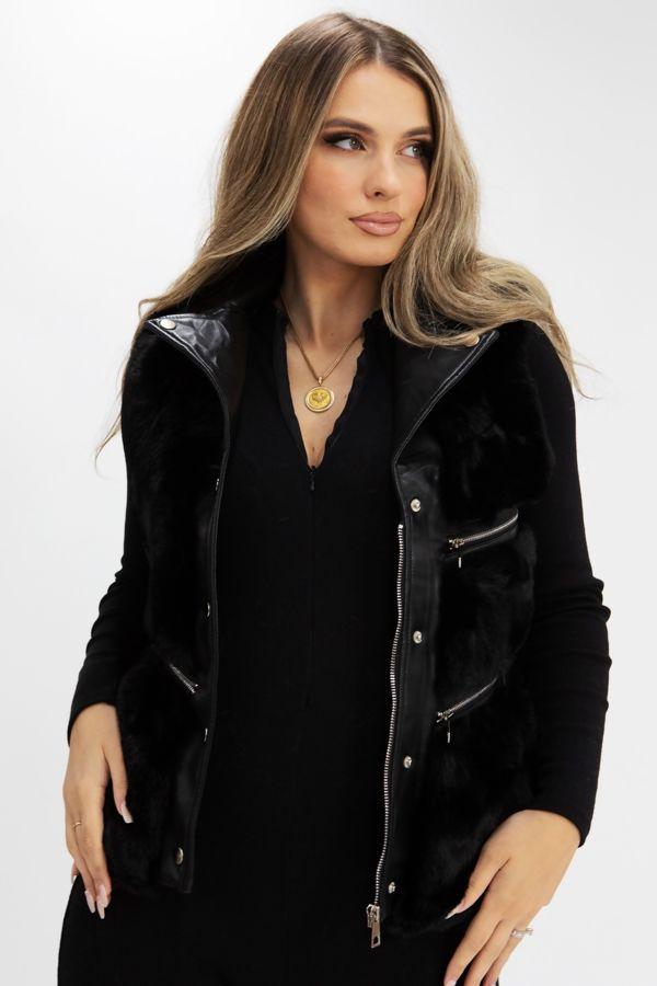 Black PU Faux Leather Faux Fur Gilet