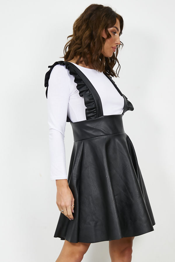 Black PU Frill Pinafore Dress