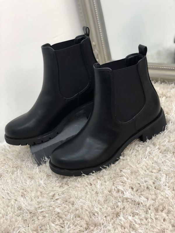 Black Pu Leather Chelsea Boots