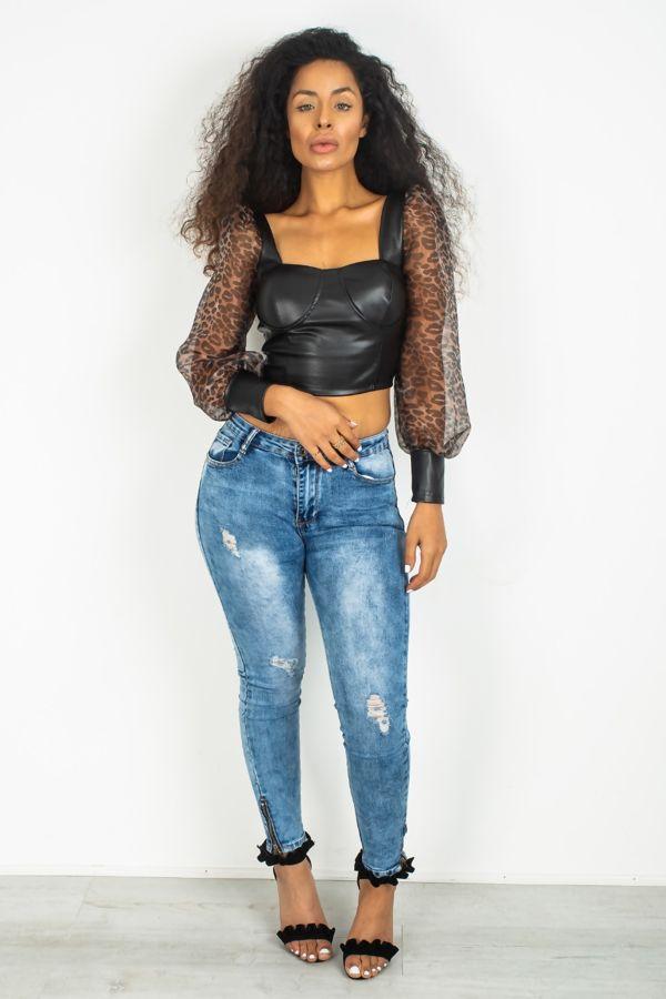 Black PU Leather Leopard Print Sleeve Crop Top