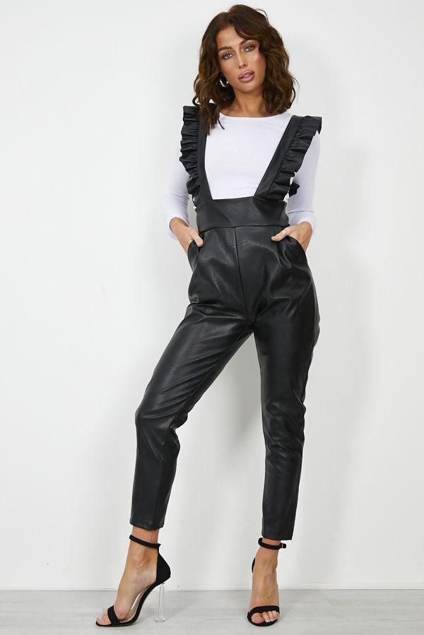 Black PU Pinafore Jumpsuit