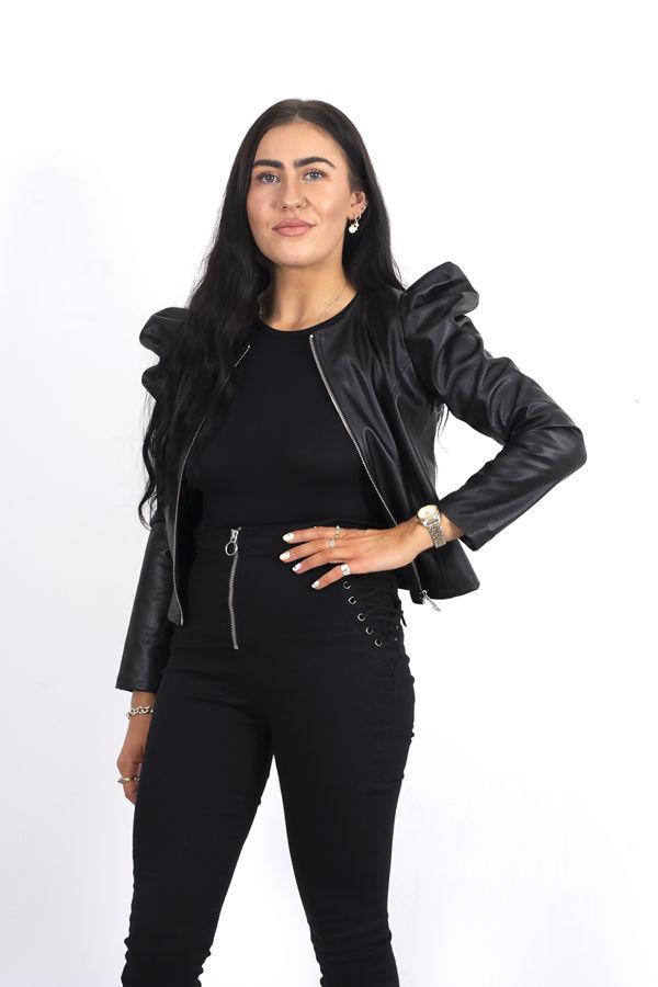 Black PU Puff Shoulder Crop Jacket