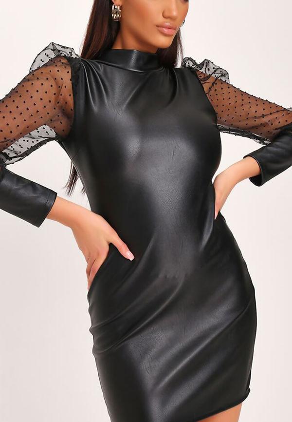 Black PU Shift Dress
