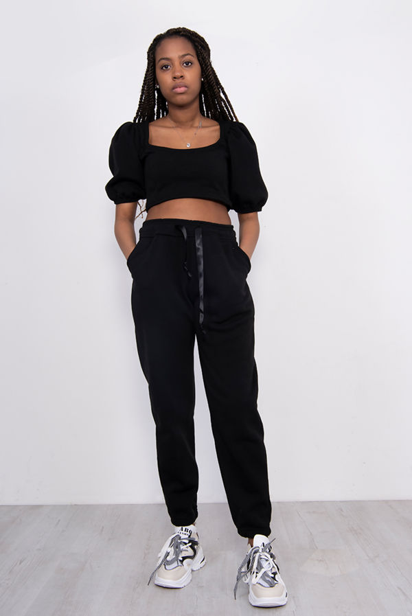 Black Puff Sleeve Cropped Top And Jogger Lounge Set
