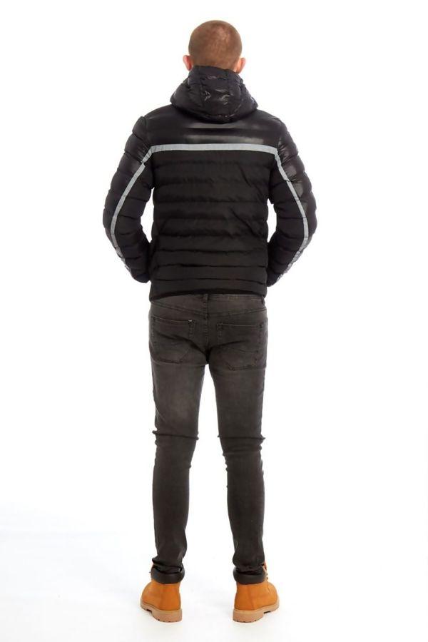 Black Puffer Hooded Bomber Jacket