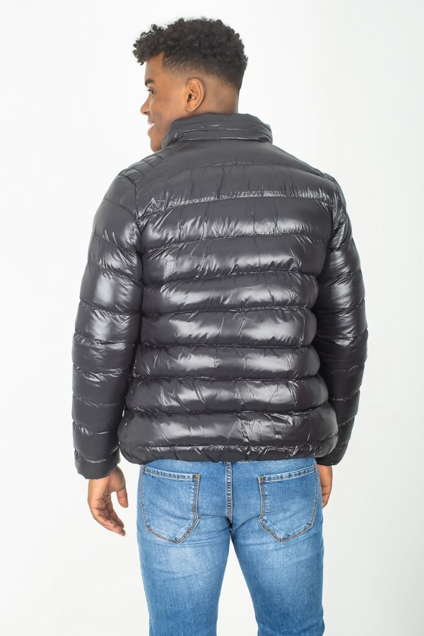 Black Puffer Shine Bomber Jacket