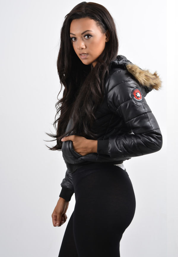Black Quilted Badge Puffer Hood Bomber Jacket