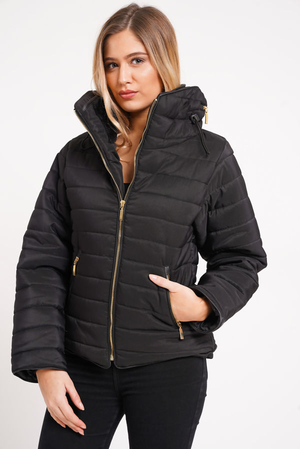 Black Quilted Padded Puffer Bubble Fur Collar Jacket