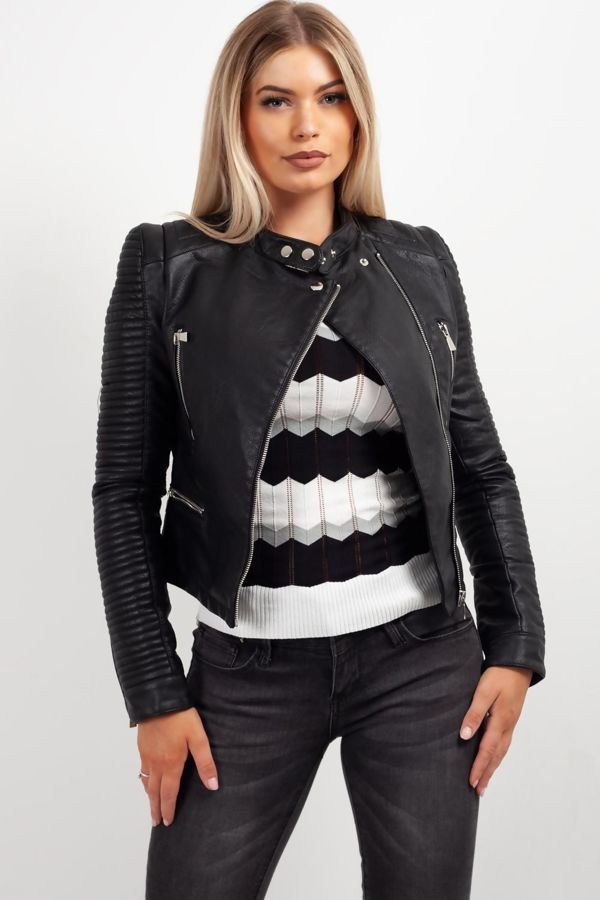 Black Quilted Sleeve Faux Leather Biker Jacket