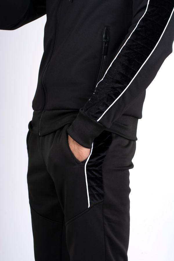 Black Quilted Velvet Stripe Detail Muscle Fit Tracksuit